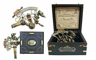 Antique Brass Ship History Nautical Sextant with Hardwood Box.Christmas Day Gift