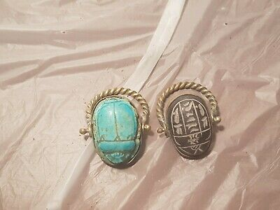 Rare Antique Ancient Egyptian 2Bronze Rings Scarabs Good Luck Hirogl1840-1750B
