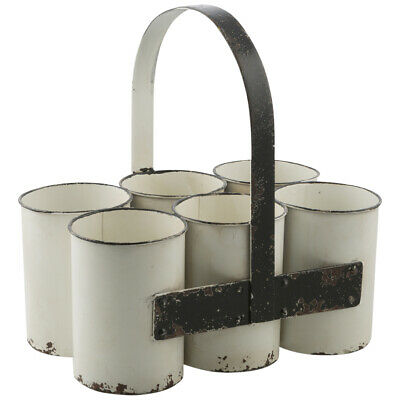 NEW Distressed White With Black Six Part Metal Caddy Holder