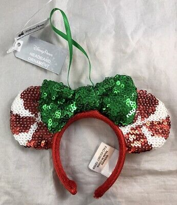 Disney Parks Peppermint Holiday Minnie Mouse Ears Candy Cane Christmas Ornament