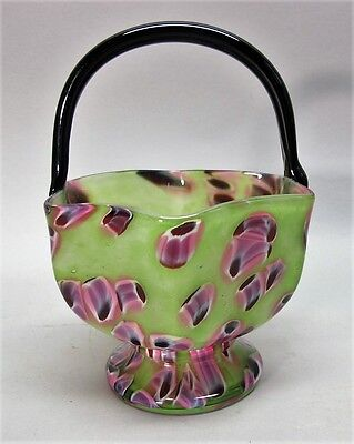 "Fine & Rare KRALIK BOHEMIAN ""Pampas"" Art Deco Glass Basket Vase c. 1930  antique"