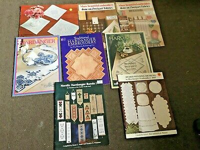 Large Lot Of Hardanger Books And Leaflets Dmc, Zweigart, And More