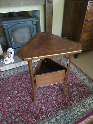 Victorian Brass & Mahogany Inlaid Occasional Table With Extending Shelves