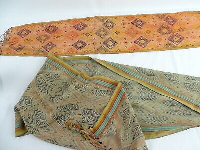 Rare Textile Collection 2 Old Indonesian Hand Loom Ikat Shawls c1960s -