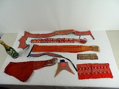 Rare Textile Collection Old Akha Hill  Hand Loom embroidered fragments c1960s