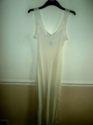 Mary Green 100% silk ivory cream long petticoat/chemise size 12/14 M