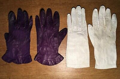 Vintage Small Leather Gloves  2 Pairs One Pair Milore