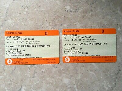 Unused London Kings Cross Tickets x2 from Doncaster - in January 2020