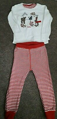 Girls NEXT 2-3 years pyjama set woodland themed top, Red & white striped bottoms