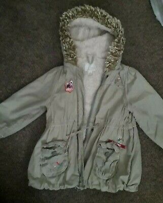 Girls Next khaki green coat jacket 3-4 years, hood, pockets, zip fastening