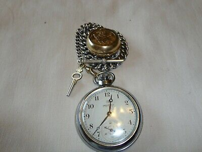 solid silver pocket watch chain plus watch and sovereign holder