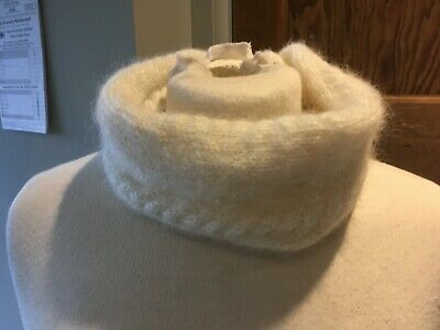 White Mohair Hand Knitted Snood Neck Scarf NEW