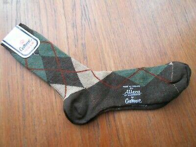 Brown Green & Cream Vintage COX MOORE ENGLAND Argyle Socks In Lambswool & Nylon