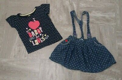 Girls Set Outfit Skirt And Tshirt Top Size 2-3 Years