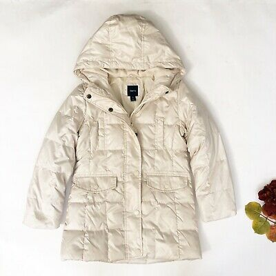 Gap Kids Girls Quilted Coat w/ Hoody Sz 8 Vanilla  Cream Winter Jacket *Read