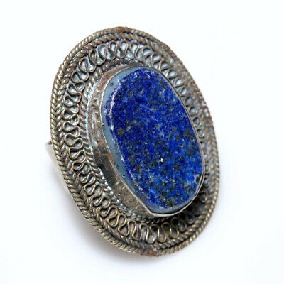 Turkmenistan Circa 1700-1800 Ad Silver Plated Hand Made Ring With Lapis Lazuli