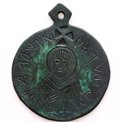 Intact Byzantine Religious Christian Pendant With A Saint Depiction Ca 1000-120