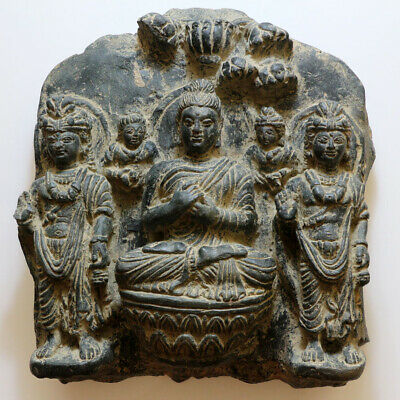 SCARCE-GANDHARA BLACK STONE RELIGIOUS PANEL ORNAMENT CIRCA 100-300 AD-4880grams