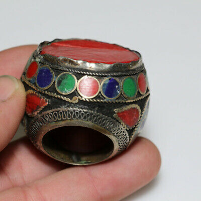 Massive-Silver Near East Enamel Decorated Ring Circa 1200-1400 Ad