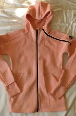 Girls Adidas Hoody Tracksuig Top Jacket Age 13 - 14 Years Fab Cond Pink / Peach