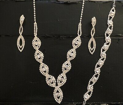 Bridal Fashion Jewellery Brand New Necklace Earrings And Bracelet
