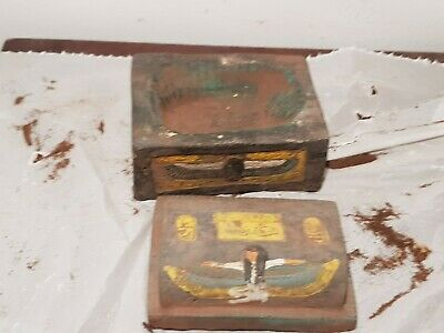 Rare Antique Ancient Egyptian jewellery Box God Isis Scarab Cobra 1740-1650BC