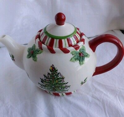 HTF SPODE Christmas Tree Peppermint Teapot CANDY CANE With Box Rare Find (#B15)