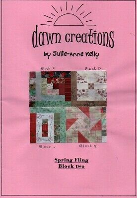 Patchwork quilt pattern. 'Spring Fling' Block2 .With additional embroidery