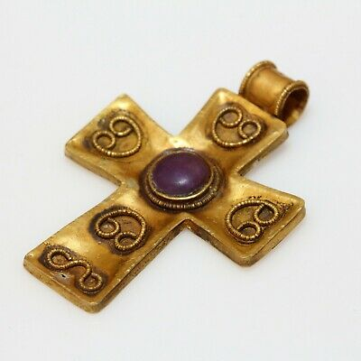 Perfect Byzantine Gold Decorated Cross - Purple Color Stone Circa 700 Ad