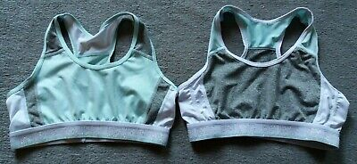 PRIMARK Grey Turquoise White Sparkly Racer Back Sport Crop Top Bra 12 - 13 Years