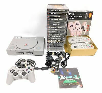 SONY Playstation 1 PS1 Slim PS One Console Bundle; 18 Games & Controllers - H57