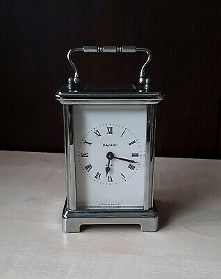 ANTIQUE BAYARD 8 DAY CARRIAGE CLOCK Duverdrey & Bloquel sliver colour *ART DECO*
