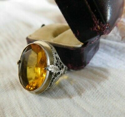 Art Deco Filigree Sterling Silver w/ Gold Stone Ladies Ring Size 3 Antique Box