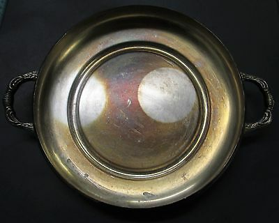 Antique Silverplate Service Bowl w Handles Sheffield Silver Co. 2 inches tall x