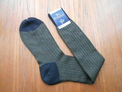 Green Grey &Gold Vintage Leicester Made BURBERRYS Long Socks Merino Wool & Nylon