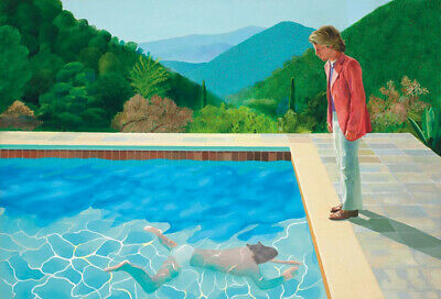 Oil painting Portrait of an Artist Pool with Two Figures hand painted 34x48inch