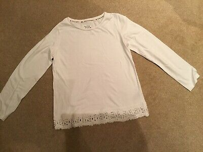 Girls Long Sleeved White Lace Trimmed Top/ Age 9-10 / NEXT