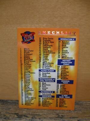 1995 Fleer Ultra Marvel X-Men Card #150 - Checklist