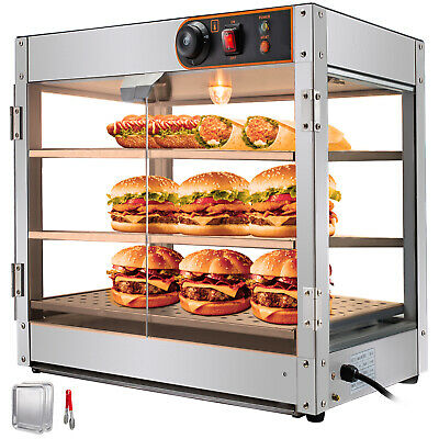 Commercial Food Warmer Pizza Warmer 24 in Pastry Warmer w/ Magnetic Doors 3 Tier