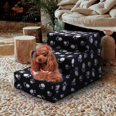 Pet Stairs 3 Steps Dog Cat Black with Paw Print Cover Indoor Portable ladder