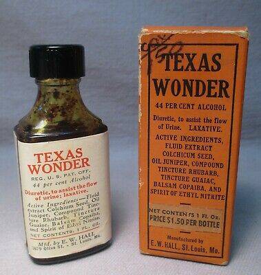 TEXAS WONDER Quack Medicine Bottle & Original Box E.W. Hall St. Louis