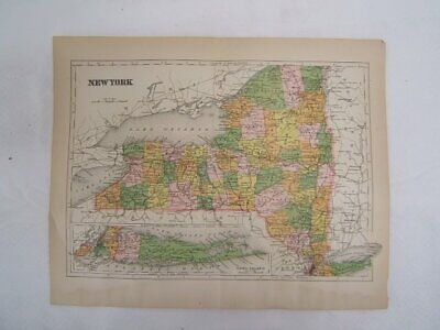 Map of New York Railroads & Towns Color Plate circa 1900