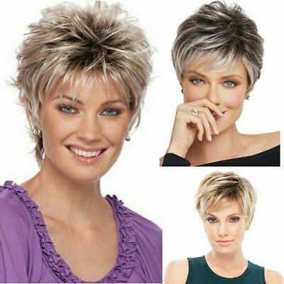 Women Ombre Short Fluffy Wig Ladies Real Natural Curly Full Hair Wigs Party Pro