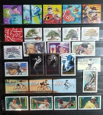 US FOREVER 27 Different Stamp Lot Used Off Paper E3250