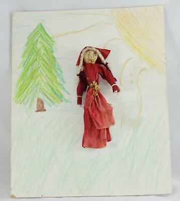 "Antique Corn Husk & Braided Hair-Santa-Folk Art-Crayon-Christmas Card/Art-9""x11"""