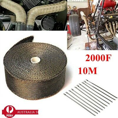 2000F EXHAUST HEAT WRAP TITANIUM Gold 10M X 50MM  + 10 STAINLESS TIES f