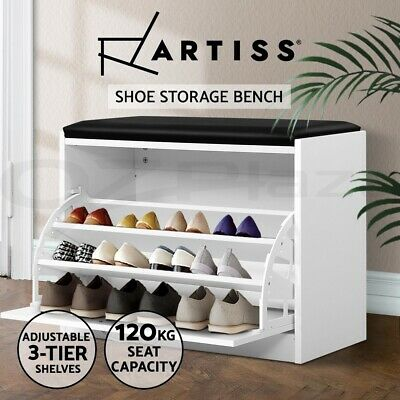 Artiss Shoe Cabinet Bench Shoes Storage Rack Organiser Storage White 15 Pairs