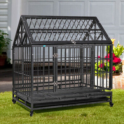 42'' Dog Crate Pet Cage Heavy Duty Dog House Metal for Large Size Pets with Tray