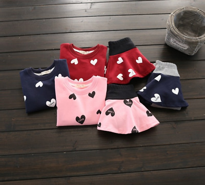 Spring Autumn Baby Girls Clothing Sets Lovely Heart Printed Children Clothing