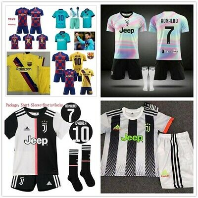 19-20 Football Kits Soccer Suits Club Kids Adults Jersey Strip Sports Outfit UK